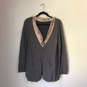 Knitted & Knotted tan brown cardigan size Large